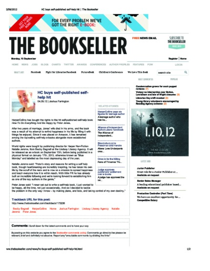 HC buys self-published self-help hit | The Bookseller